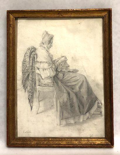 Ecole FRANCAISE du XIX ème, Femme cousant,...