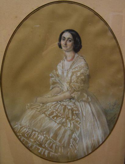 Romain CAZES (1810-1881), Portrait d' Hermine...