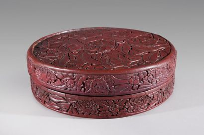 CHINE, DYNASTIE MING, marque et époque XUANDE (1426-1435) Boite circulaire en laque...