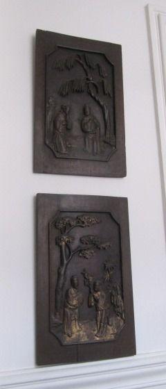 Suite de deux paires de panneaux en bois...