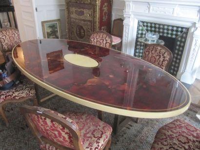 Table de salle à manger à plateau ovale en...