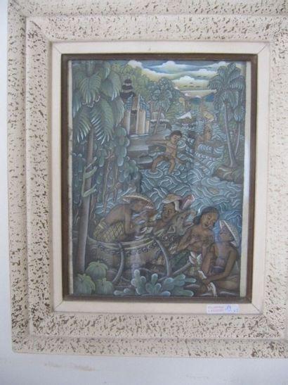 """Ecole Indonésienne """"Bali"""", 3 huiles sur tissu encadrées. 26 x 20 cm"""