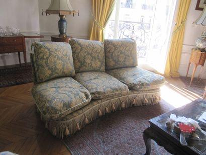 Canapé incurvé à coussin en Damas de velours...