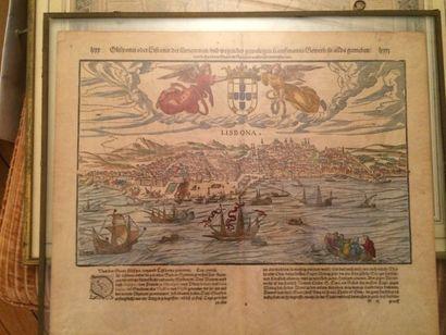 D'après la Cosmographie de Munster au XVIème Page de livre encadrée en langue allemande...