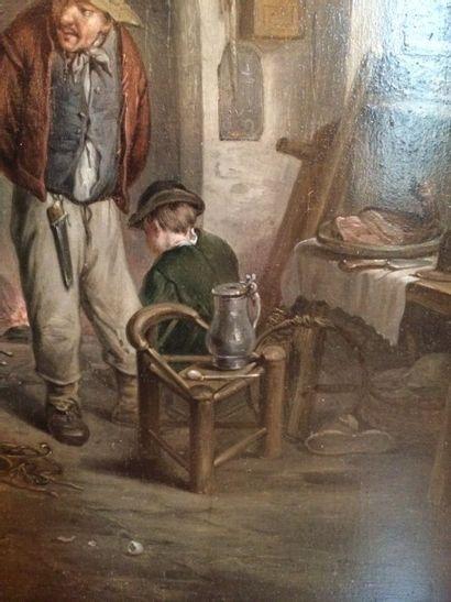 Ecole XVIIIème, d'après Adriaen Van OSTADE Scène d'Intérieur, huile
