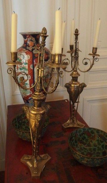 Johann Alois SEETHALER, Augsbourg 1805-1806 Paire de candélabres de style néoclassique,...