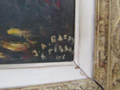 Jean RAFFY LE PERSAN (né en 1920) «Grand pin au bord de l'eau», Huile sur toile signée...