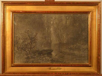 NOIROT Emile (1853-1924), NOIROT Emile (1853-1924), La barque sur une rivière en...