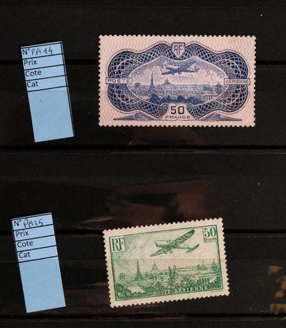 [FRANCE]. Un petit lot de timbres de très belles valeurs regommées Merson 2 fr N°...