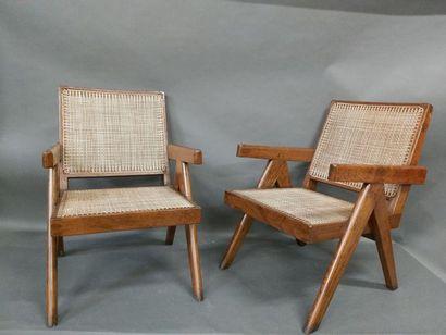 """JEANNERET Pierre (1896-1967), Paire de fauteuils modèle dit """"Cane and teak wood..."""
