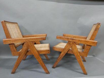 JEANNERET Pierre (1896-1967), Paire de fauteuils...