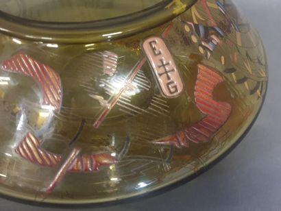 Emile GALLE (1846-1904), Bassin en verre ambré dit quartz enfumé, rare et riche...