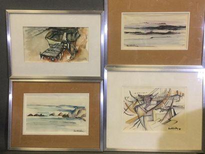 Christian ROY (né en 1949), Lot de 4 oeuvres...