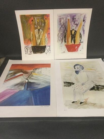 KATAN Jean-Jacques (1952) - Lot de 4 Lithographies...