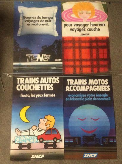 Lot de 4 AFFICHES SNCF, années 70, 100 x...
