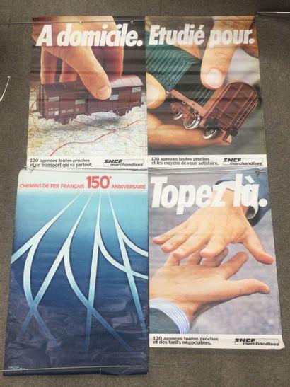 Lot de 4 AFFICHES SNCF, années 80, 110 x...