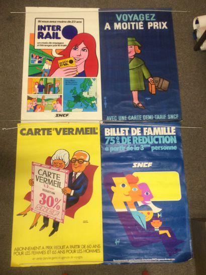 Lot de 4 AFFICHES SNCF, années 60 et 70,...