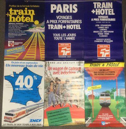 Lot de 6 AFFICHES SNCF, années 80, 100 x...