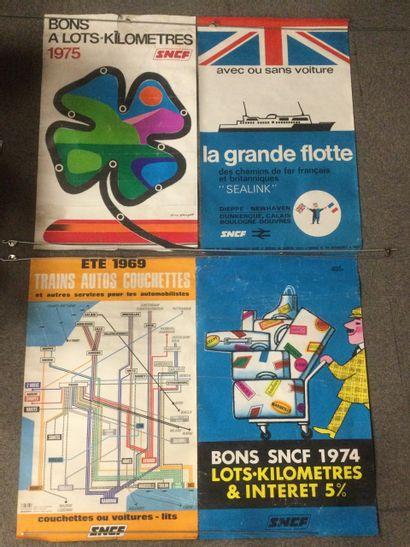 Lot de 4 AFFICHES SNCF, années 60-70, 100...