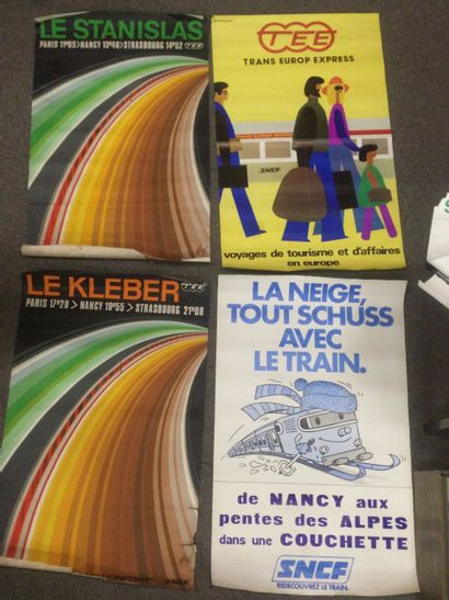 Lot de 4 AFFICHES SNCF Train Europ Express...