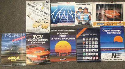 Lot de 10 AFFICHES SNCF, années 80, petit...