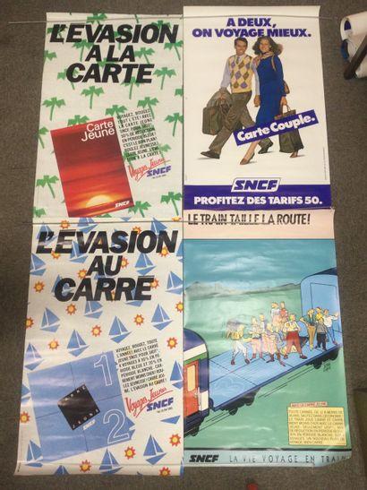 Lot de 4 AFFICHES SNCF, années 80, 100 x...