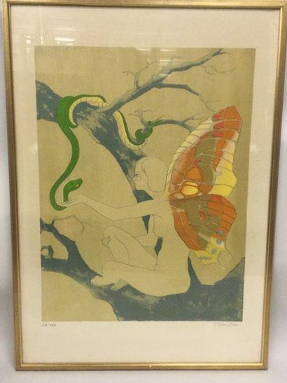 P. ALLOUETEAU (XXème), Fée au serpent, Lithographie,...