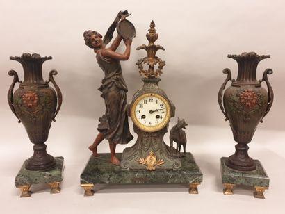 GARNITURE de cheminée 3 pièces (circa 1900),...