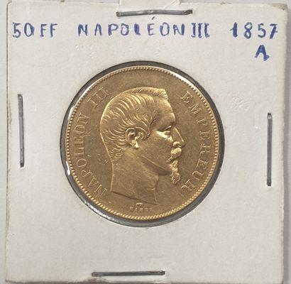 MONNAIE 50 francs or, Napoléon III, 1857...