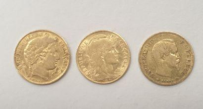 Lot de 3 MONNAIES 10 Francs or
