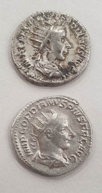 MONNAIE ROMAINE - GORDIEN III, Lot de 2 Antoniniens,...