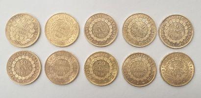 Lot de 10 MONNAIES 20 Francs or (Suisses...
