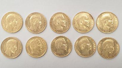 Lot de 10 MONNAIES 20 Francs or