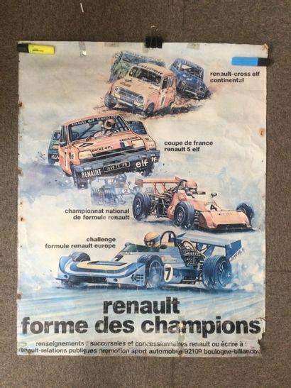 AFFICHE pour la marque Renault, années 70,...
