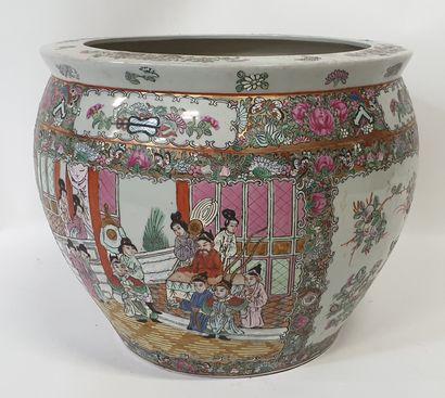 CHINE, Grand CACHE-POT ou AQUARIUM en porcelaine...
