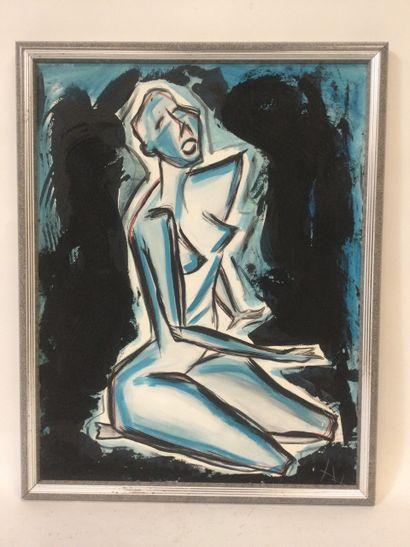 Philippe DE BELLY (1955), nu féminin à genoux,...