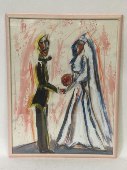 Philippe DE BELLY (1955), Les mariés, crayon...
