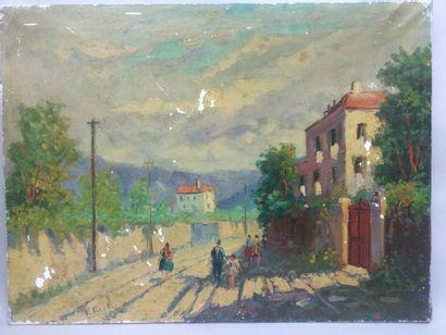 V. MIMETTI, Rue de village animée, HST, SBG,...