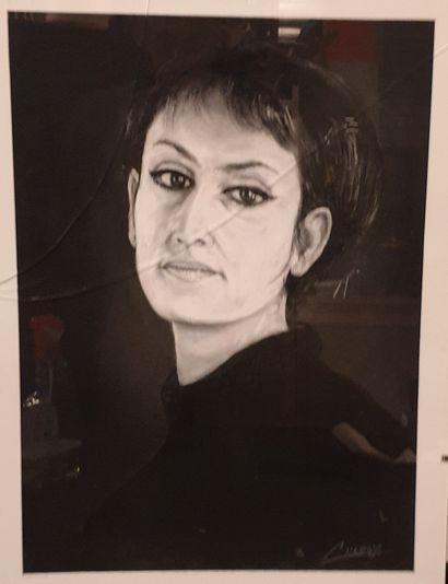 Claude CHAROY (1931-2020), Portrait de BARBARA...