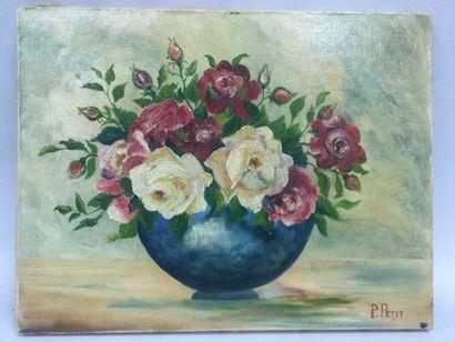 P. PETIT, (XX), Nature morte au bouquet,...