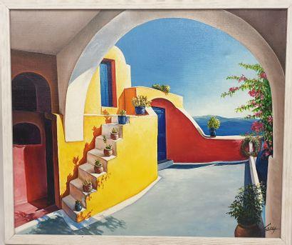 Claude CHAROY (1931-2020), Terrasse ensoleillée,...