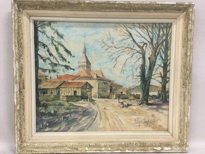 Roger Paul MILLOT (XXème), Vue du village...