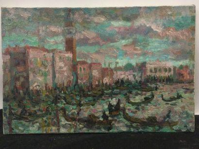 Artiste XXème, Vue de Venise, HST, dim. 27...