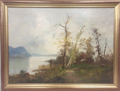 Emile GODCHAUX (1860-1938), Pêcheur au bord...