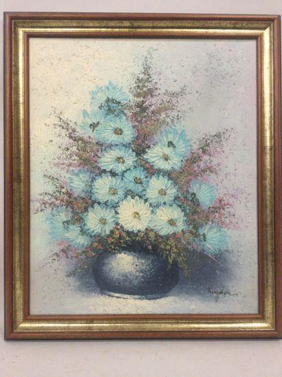 KINGDON, (XXème), Nature morte au bouquet,...