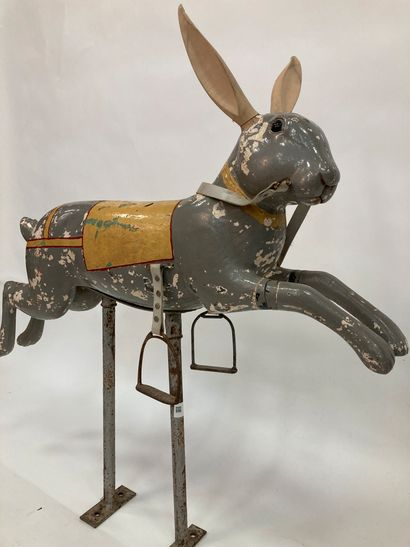 Rabbit of merry-go-round in painted wood...