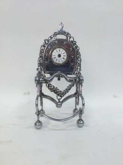 Cavalry clock in chromed metal mounted on...