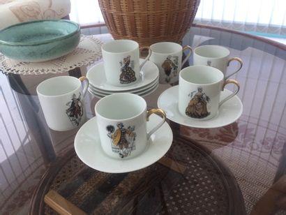 LIMOGES - lot de tasses et sous tasses