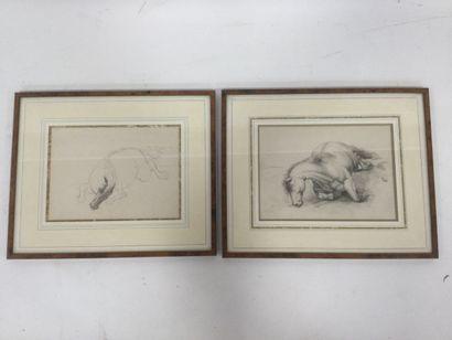 Deux dessins au crayon représentants des...