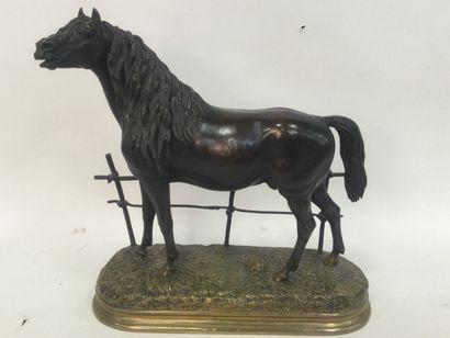 Paul COMOLERA (1818-1897) Cheval à la barrière...